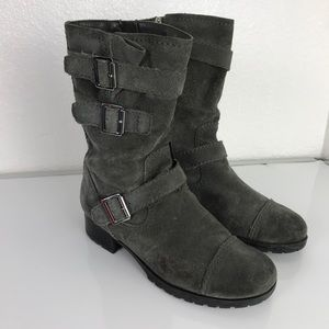 Marc Fisher suede gray buckle mid calf boots